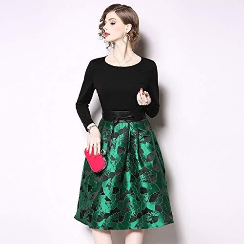QUNLIANYI Abendkleid Abiballkleid Frauen A-Line Rock Langarm Taille Krawatte Nähen Jacquard Kleid...