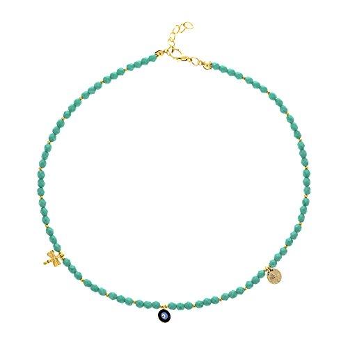 Córdoba Jewels  Gargantilla en Acero bañado en Oro y Swarovski. Diseño Swarovski Charms Turquesa
