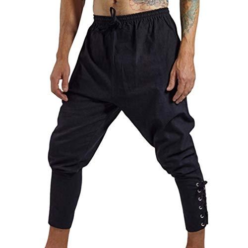 Sentaoa Homme Pantalon Décontractés Médiéval Renaissance Ceinture Élastique Pantalons d'athlétisme Pantalons Cordelette au Niveau de Jambes (Noir, Asia 3XL)