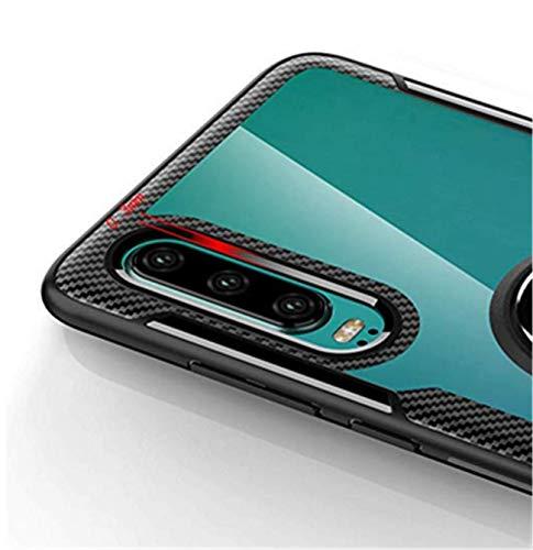Kompatibel mit Huawei P30 Lite Hülle Huawei P30 Pro/P30 Silikon-Weiche Handyhülle Kickstand 360 Grad Handy transparent Magnetische Autohalterung Anti-Rutsch Schutz (Schwarz 1, P30 Lite) - 6