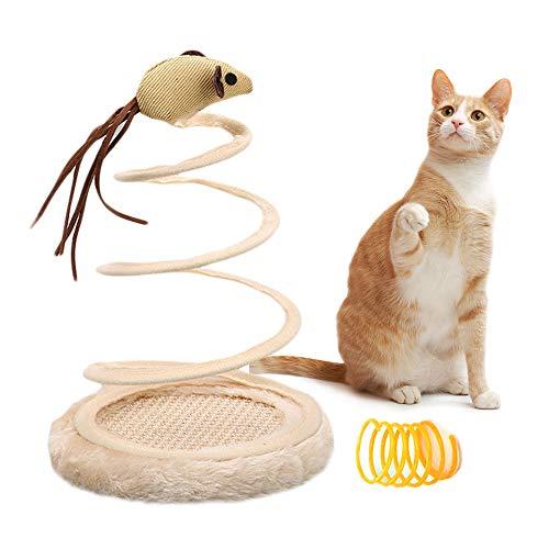 MA Olymajy Frühling Katzenspielzeug,Interaktives Spielzeug für Katze, Langlebiges Plüschtier mit Spiralfederplatte und kreativem Spielzeug für Mäuse, Perfekt für Kätzchen-Haustiere Neuheitsgeschenk
