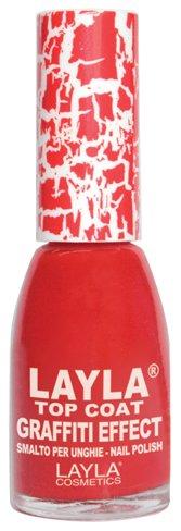 Layla Cosmetics Top Coat Graffiti Nagellack, red, 1er pack (1 x 0.01 L)