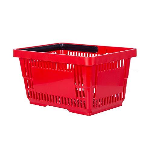 goodsforbusiness GmbH Einkaufskorb rot 22l Handkorb mit Tragebügel   Kunststoffkorb stapelbar   Tragekorb stabil   Plastikkorb lebensmittelgeeignet   Shopping-Basket