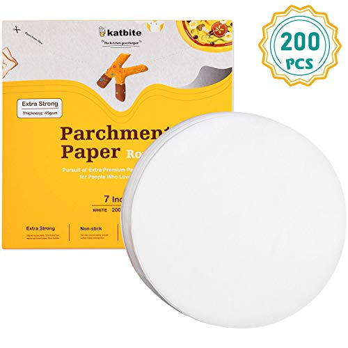"Katbite Heavy Duty Parchment Rounds 7 Inch 200 Pcs, 4""5""6""8""9""10""12"" Parchment Paper Rounds Available, Uses for Cake Baking, Air Fryer Liners"