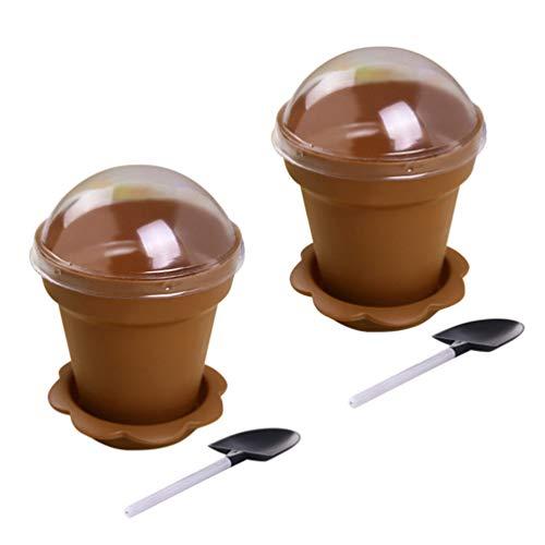 UPKOCH taza de helado con tapa mini maceta tazas taza de yogur de recipiente de postre para pudín de gelatina de mousse 10 piezas