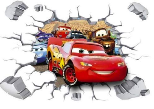 Kibi Cars 3D Aufkleber Cars Wandtattoo Cars Wandaufkleber Cars 3 Wandsticker Cars Disney Wandtattoo Cars Kinderzimmer, Dekoration, Abnehmbare Aufkleber Wall stickers XXL 90 x 60 CM