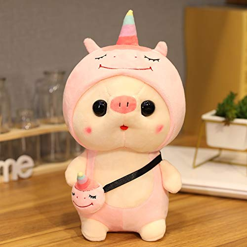 YMQKX 25-35cm Lindos Juguetes de Cerdo Cosplay Dinosaurio Unicornio Conejo Animal de Peluche muñeca Friut Juguete Encantador para niños bebé Regalo Creativo 35cm Unicornio