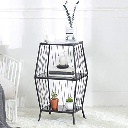 YLCJ Étagère au Sol Simple Fer Art Table de Chevet Rack de Stockage Racks de Stockage Étagères de Chevet Blanc Noir Doré 130 * 15 * 81.5 cm (Couleur: Noir 32 * 25 * 73 cm)