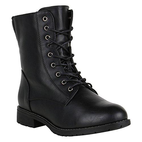 stiefelparadies Damen Stiefel Leicht Gefütterte Stiefeletten Schnürstiefeletten Schuhe 150124 Schwarz Berkley 38 Flandell
