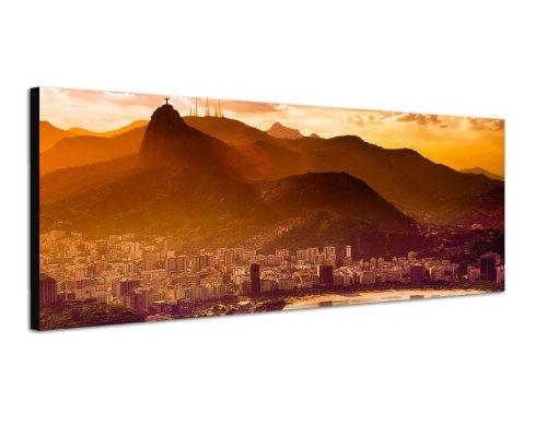 Rio de Janeiro Brasilien Städtebild 150x50cm Breitbild als Panorama auf Leinwand und Keilrahmen fertig zum aufhängen - Unsere Breitbild als Panoramaer auf Leinwand bestechen durch ihre ungewöhnlichen Formate und dem extrem detaillierten Druck aus bis