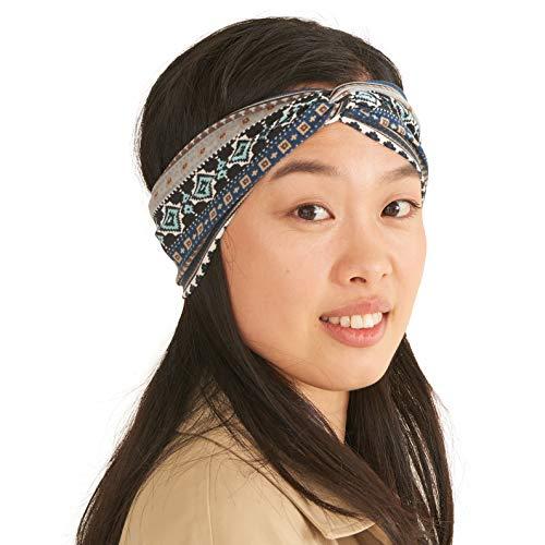 Diadema Turbante Verano Mujeres Boho - Diadema Mujer Yoga Ejercicios Ligeros Cómoda Cinta Cabeza Elástico Viaje Algodón Suave Moderna Azul