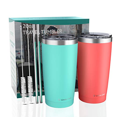 2 Pack 20oz Insulated Tumblers with Lid & Gift Box | Stainless Steel Coffee Cup by Umite Chef | Double Wall Vacuum Insulated Travel Coffee Mug with Splash Proof slid lid (Mint Green + Coral Orange)