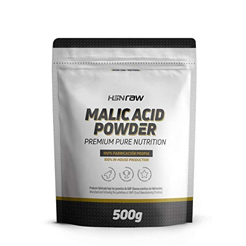 Ácido Málico en Polvo de HSN | Fomenta la Energía, Reduce la Fatiga, Mayor Rendimiento Deportivo, Recuperación Muscular | Vegetariano, Sin Lactosa, Sin sabor, 500g