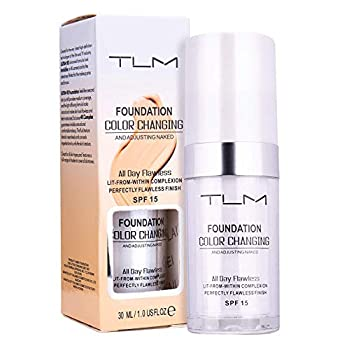 Avashine Color Changing Foundation All-Day Flawless Foundation Makeup Foundation Cream Liquid Foundation,30ml SPF 15 Lightweight,Fragrance-Free Warm Skin Tone