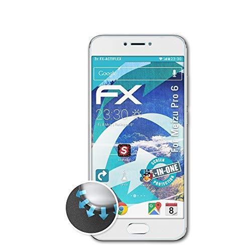atFolix Schutzfolie kompatibel mit Meizu Pro 6 Folie, ultraklare & Flexible FX Bildschirmschutzfolie (3X)