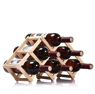 Soporte plegable para 6 botellas de vino, soporte de madera, estante de exhibición para barra de cocina (horno de carbono) PingGongHuaKeJiYouXianGongSi (color: madera)