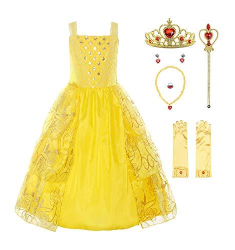 ReliBeauty Mädchen Kleider Paillette Prinzessin Kleid Einfarbig Ärmellos Rose Muster Blumen Kleid Cosplay Kostüme, Gelb(mit Zubehör), 116-122(Etikett 120)