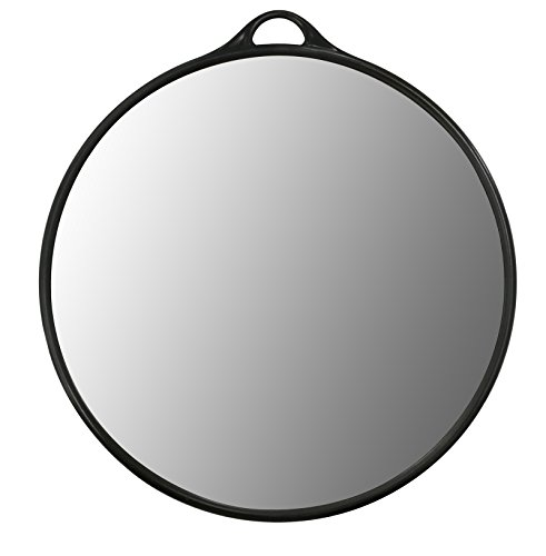 Crisnails® Espejo de Mano Profesional para Peluquería, Barbería, Belleza, Estética, Salón, Tatuaje, Diseño Ergonomío, Varios Modelos, Color Negro (R2-Negro)