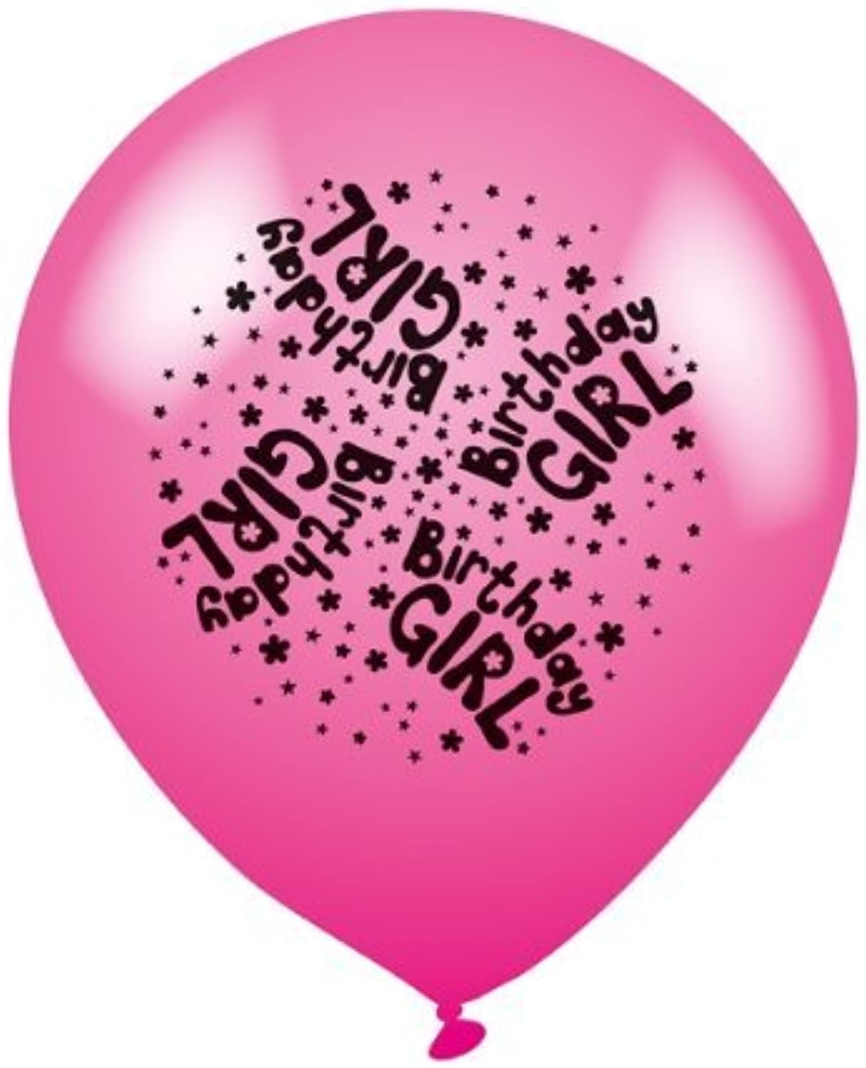 Pack of 8 'Birthday Girl' Latex Party Balloons - Air or Helium Fill by Expression Factory