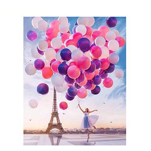 hdbklhjxk schilderij met cijfers om zelf te maken meisjes ballon onder de toren figuur linnen decoratie bruiloft afbeelding kunst geschenk 50 x 65 cm zonder lijst