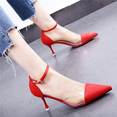 HOESCZS Chaussures habillées Rouges 19 Printemps et en été Nouveaux Talons Aiguilles en Film Transparent Pointu à Boucle Creuse