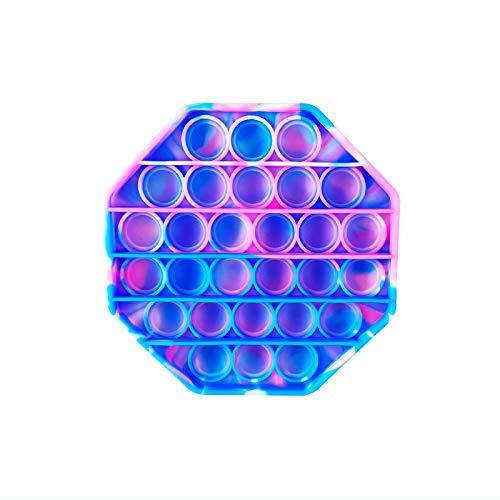 PAIDE P Push Pop Pop Bubble Juguete Antiestres. ,Relajante . Juguete sensorial, Autismo. Fidget Toy Pop it. Alivia ansiedad. Niños y Adultos.(Polígono Rosa-Celeste)