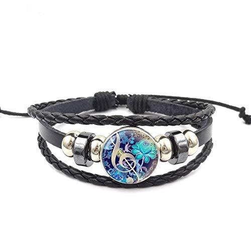 Armbänder Für Herren Marke Schmuck Schwarz Leder Armband Armreif Glaskuppel Für Kind Musik Note