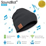 soundbot SB210-GRY/GRY HD Stereo Bluetooth 4.1 Wireless Smart Beanie Headset Musical Knit Headphone Speaker Hat Speakerphone Cap,Built-in Mic (Gry)