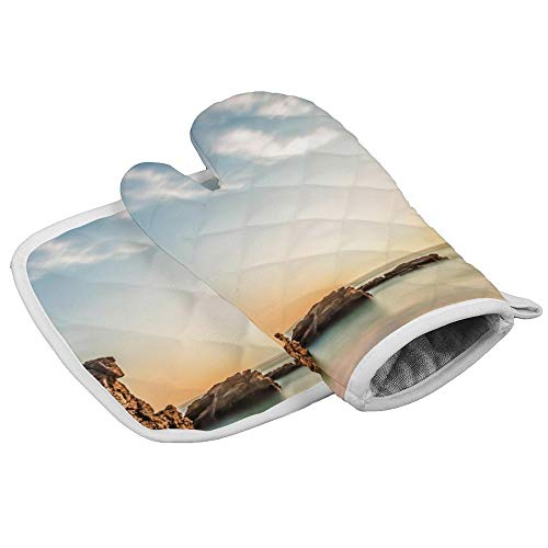 TattyaKoushi Oven Mitts and Pot Holder Or Oven Gloves Insulation Gloves Sea Beach Rocks Sun Sunrise Morning Sky Clouds Best Heat-Resistant Kitchen Set