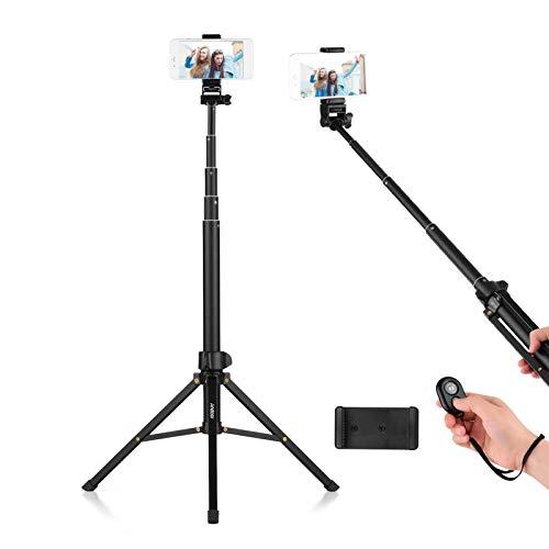 Andoer 1.5m / 59in Trípode 2 en 1 + Palo Selfie Extensible Aleación de Aluminio con Soporte para teléfono Obturador Remoto...