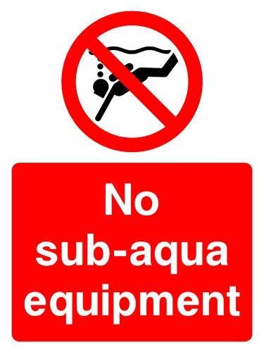 No Sub-Aqua Attrezzature Segnale di Sicurezza Adesivi Divertenti Avviso di pericolo Adesivi per Propety Vinyl Notice Lable Decal Autoadesivi 30 x 40 cm