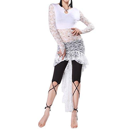 Q-JIU Bauchtanz Kostüm Damen Modal Training Lace Fischschwanz Rock (Kein Zubehör),White,M