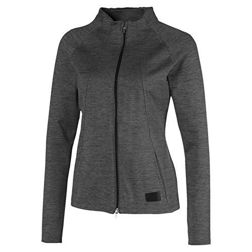 PUMA Damen Cloudspun W Warm Up Jacket Pullover, Black Heather, XL