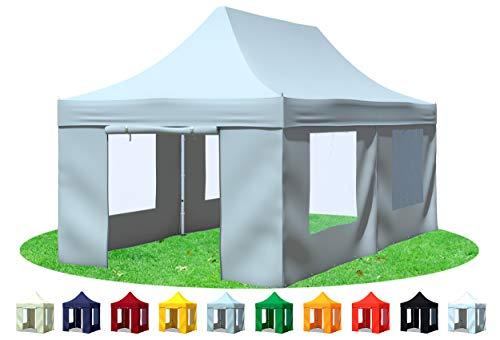 Stabilezelte Faltpavillon 3x6 Meter Premium mit Fensterseiten Grau