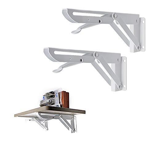 MAGIC SELECT Soportes para Estantes Plegable, 2 ud Soporte estanteria abatible de Acero Inoxidable, Carpinteria Bricolaje Soporte Estante, Escuadra plegable para ahorrar Espacio, Fácil instalación