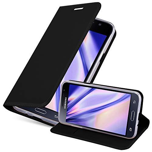 Cadorabo Hülle für Samsung Galaxy J3 2016 in Classy SCHWARZ - Handyhülle mit Magnetverschluss, Standfunktion & Kartenfach - Hülle Cover Schutzhülle Etui Tasche Book Klapp Style