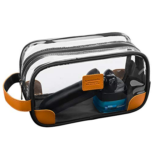 Lermende Travel Toiletry Bag for Men and Women Clear Large Shaving Dopp Kit Bags, Bathroom and Shower Organizer Kit with Hanging Strap for Toiletries, Cosmetics, Makeup, Brushes