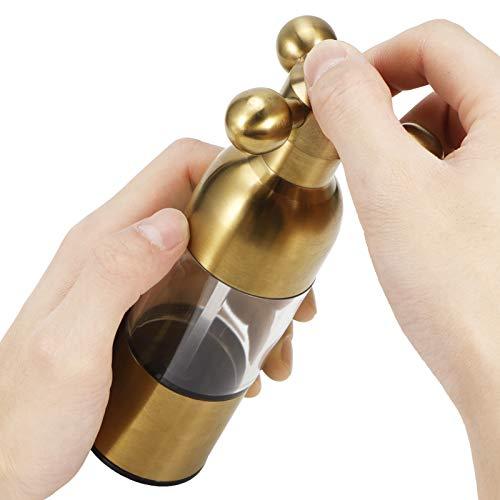 Molinillo de Pimienta Que Mantiene el Sabor Molinillo de Pimienta Resistente al Desgaste Tanque de Almacenamiento Visible Familia de sabores corrosivos para cocinar Cocina(Golden)