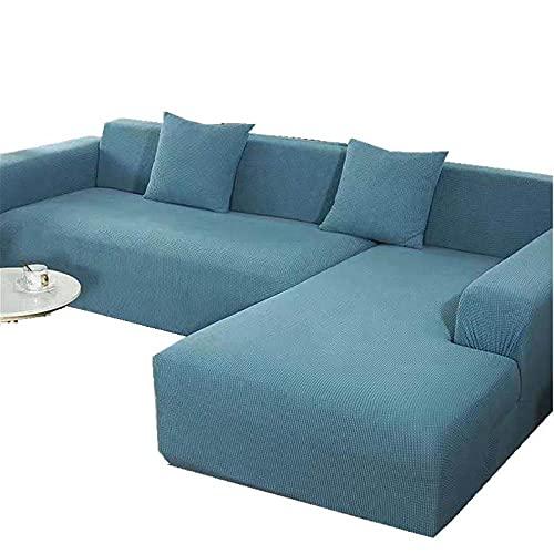 Fundas de sofá de Alta Elasticidad Seater Spandex Jacquard Patrón a Cuadros con Funda Antideslizante Protector de Muebles Tela Lavable-Gris Blue_Seat_Length_for_2_People_is_Between_145-180cm