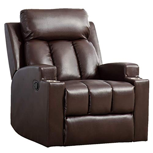 Merax Recliner Chair Lazy Sofa, Manual Ergonomic Design with Overstuffed Armrest, Footrest and Back for Living Room, Dark Brown