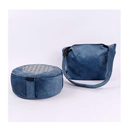 Cojin Yoga Zafu Meditación - Cojín de Suelo para la Práctica de la Meditación - Accesorio Yoga para Mujer - Cojín Meditación con Trigo,Azul