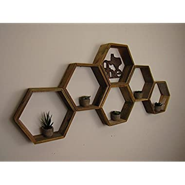 RECLAIMED Honeycomb shelves, Hexagon Shelves, Distressed Shelves, Geometric Shelves, Nursery Shelves, Hexagon shelf, Floating Shelf, Floating Shelves, Handmade in Texas weathed wood