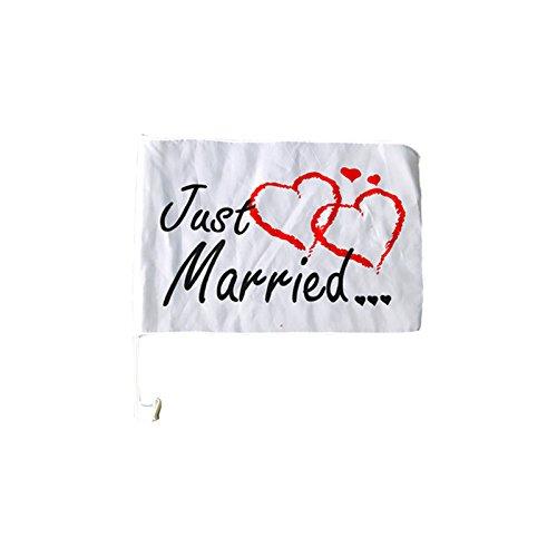 Autofahne | Just Married | Brautpaar | Hochzeit | Autocorso | Hochzeitsgesellschaft | Fahne | Herzen | Preis am Stiel®