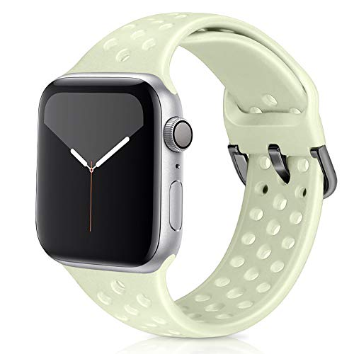 Vodtian Correa deportiva compatible con Apple Watch Strap 42 mm 44 mm, suave y transpirable silicona de repuesto compatible con iWatch Series 5/4/3/2/1 para mujeres y hombres (38 mm/40 mm, oro verde)