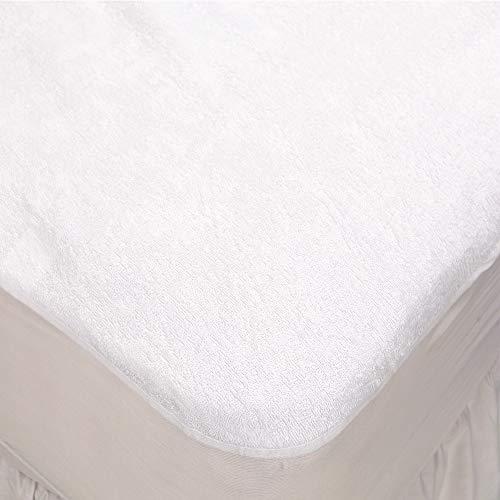 Linens Limited Protector de colchón Impermeable - Algodón de Rizo - Blanco - Cama Cuna