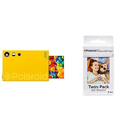 Polaroid Mint Fotocamera digitale Instant Print (Giallo), stampa su carta fotografica Zink 2x3 adesiva & Premium Zink Carta Fotografica Compatibile Zip, Snap, Snap Touch, Z2300, Mint Instant Camera