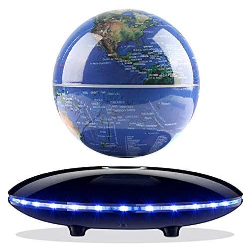 Magnetic Levitating Globe,Novel Magnetic Floating Geographic World Globe Auto Rotating in the Air with 7-Color Gradient Light Cool Base for Children Educational Gift Home Office Desk Decoration