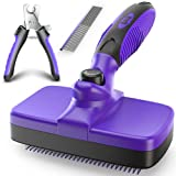 Ruff 'N Ruffus Upgraded Self-Cleaning Slicker Brush + Free Pet Nail Clippers+ Free Comb   Cat Dog Brush Grooming Gently Reduces Shedding & Tangling for All Hair Types
