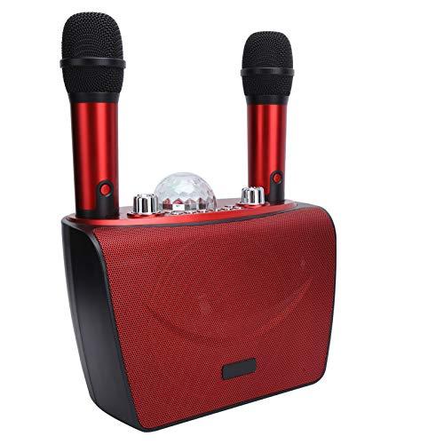 Máquina de karaoke portátil Altavoz Bluetooth Conexión de micrófono dual Bluetooth profesional estable para KTV (rojo S201-doble trigo)