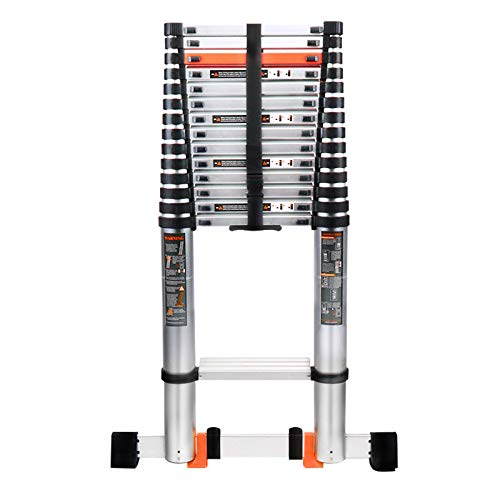 18.5FT Aluminum Telescoping Ladder, Extension Ladder with Stabilizer Bar, Hook and Nonslip Plastic Block for Household Daily, Maximum Load 330 Pound